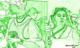 monochrome pride marchers in green