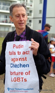 Peter Tatchell leads Eastbourne Mardi Gras Pride parade.