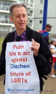Peter Tatchell leads Eastbourne Mardi Gras Pride parade.