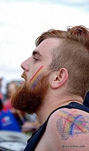Bearded Stix drummer at Eastbourne Pride.